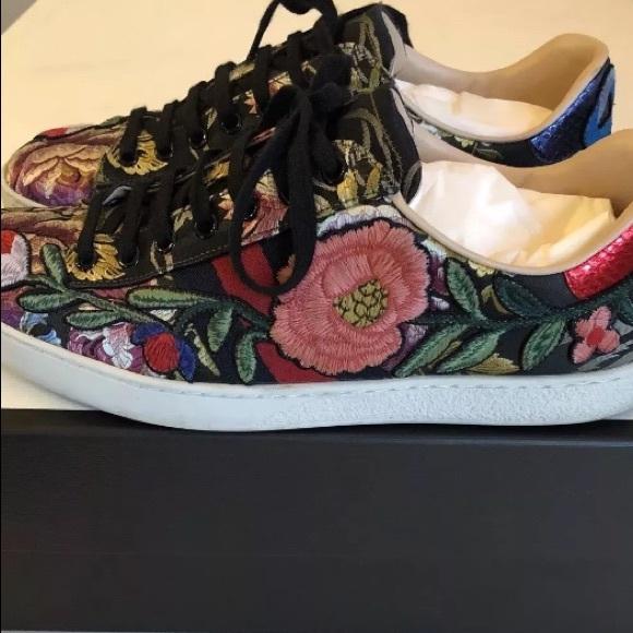 Gucci Shoes | Gucci Ace Floral Black